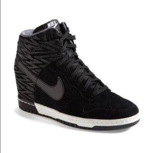 Womens Nike Dunk Sky High Print Suede Wedge Black